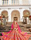 image of Banarasi Style Silk Fabric Function Wear Multi Color Weaving Work Lehenga Choli