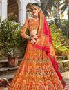 image of Function Wear Multi Color Trendy Weaving Work Banarasi Style Silk Fabric Lehenga