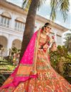 image of Banarasi Style Silk Fabric Function Wear Weaving Work Multi Color Lehenga Choli