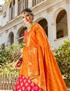 photo of Function Wear Banarasi Style Silk Fabric Trendy Rani Color Weaving Work Lehenga
