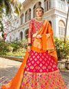 image of Function Wear Banarasi Style Silk Fabric Trendy Rani Color Weaving Work Lehenga