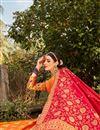 photo of Banarasi Style Silk Fabric Function Wear Weaving Work Lehenga Choli In Orange Color
