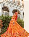 image of Banarasi Style Silk Fabric Function Wear Weaving Work Lehenga Choli In Orange Color