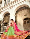 photo of Trendy Sea Green Color Sangeet Function Wear Banarasi Style Silk Fabric Weaving Work Lehenga