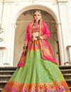 image of Trendy Sea Green Color Sangeet Function Wear Banarasi Style Silk Fabric Weaving Work Lehenga