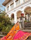 photo of Pink Color Sangeet Function Wear Banarasi Style Silk Fabric Weaving Work Lehenga Choli