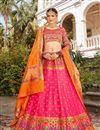 image of Pink Color Sangeet Function Wear Banarasi Style Silk Fabric Weaving Work Lehenga Choli