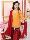 image of Yellow Color Designer Function Wear Cotton Silk Fabric Sharara Suit