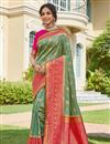 image of Sea Green Color Sangeet Wear Banarasi Style Silk Elegant Weaving Work Saree