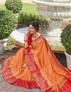 photo of Sangeet Wear Elegant Orange Color Weaving Work Saree In Banarasi Style Silk
