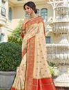 image of Sangeet Wear Beige Color Elegant Banarasi Style Silk Weaving Work Saree