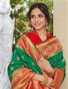 photo of Sangeet Wear Elegant Green Color Weaving Work Banarasi Style Silk Saree