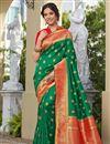 image of Sangeet Wear Elegant Green Color Weaving Work Banarasi Style Silk Saree