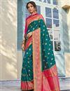 image of Banarasi Style Silk Sangeet Wear Teal Color Elegant Weaving Work Saree