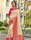 image of Sangeet Wear Banarasi Style Silk Elegant Beige Color Weaving Work Saree