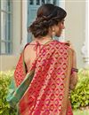 photo of Sangeet Wear Trendy Sea Green Color Weaving Work Saree In Banarasi Style Silk
