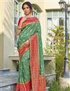 image of Sangeet Wear Trendy Sea Green Color Weaving Work Saree In Banarasi Style Silk