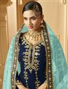 photo of Classic Georgette Fabric Sangeet Wear Embroidered Palazzo Suit In Navy Blue Color