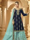 image of Classic Georgette Fabric Sangeet Wear Embroidered Palazzo Suit In Navy Blue Color