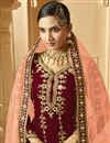 photo of Sangeet Wear Classic Maroon Color Embroidered Georgette Fabric Palazzo Dress