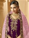 photo of Purple Color Sangeet Wear Classic Embroidered Palazzo Suit In Georgette Fabric