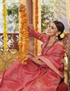 photo of Pink Color Traditional Saree In Art Silk Fabric