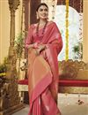 image of Pink Color Traditional Saree In Art Silk Fabric