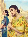 photo of Linen Fabric Daily Wear Printed Saree In Yellow Color