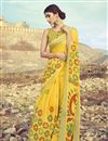 image of Linen Fabric Daily Wear Printed Saree In Yellow Color