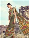 image of Printed Linen Fabric Fancy Saree In Mehendi Green Color