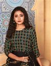 photo of Black Color Rayon Fabric Fancy Printed Daily Wear Gown Style Kurti