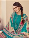 photo of Casual Wear Cyan Color Fancy Jacquard Fabric Printed Patiala Suit