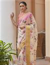 image of Linen Fabric Elegant Regular Wear Pink Color Printed Saree