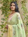 photo of Regular Wear Linen Fabric Elegant Sea Green Color Printed Saree