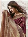 photo of Maroon Color Art Silk Fabric Function Wear Weaving Work Saree