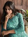 photo of Net Fabric Festive Wear Chic Embroidered Straight Cut Suit In Sea Green Color
