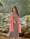 image of Chanderi Fabric Grey Color Suit