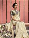 photo of Art Silk Fabric Puja Wear Beige Color Trendy Digital Printed Saree
