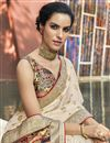 photo of Trendy Beige Color Puja Wear Art Silk Fabric Digital Printed Saree