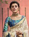 photo of Art Silk Fabric Trendy Beige Color Puja Wear Digital Printed Saree