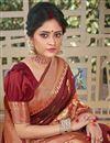 photo of Brown Color Designer Weaving Work Saree In Art Silk Fabric