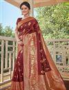 image of Brown Color Designer Weaving Work Saree In Art Silk Fabric