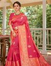 image of Pink Color Art Silk Fabric Festive Wear Weaving Work Saree