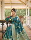 photo of Teal Color Traditional Weaving Work Saree In Art Silk Fabric