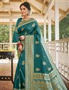 image of Teal Color Traditional Weaving Work Saree In Art Silk Fabric