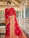 image of Art Silk Fabric Red Color Designer Weaving Work Saree