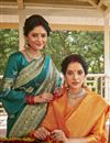 photo of Art Silk Fabric Designer Weaving Work Saree In Yellow Color
