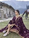 photo of Wine Color Embroidered Readymade Salwar Kameez In Georgette Fabric