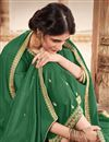 photo of Embroidery Designs Green Color Cotton Silk Fabric Function Wear Palazzo Salwar Suit