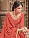 photo of Embroidered Cotton Silk Fabric Peach Color Function Wear Palazzo Suit